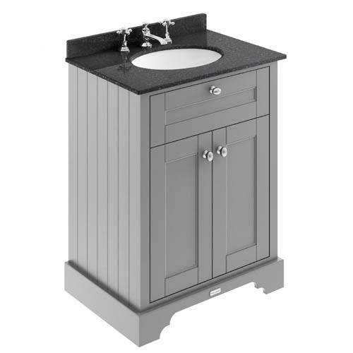 Additional image for Vanity Unit, Basin & Black Marble 600mm (Grey, 3TH).