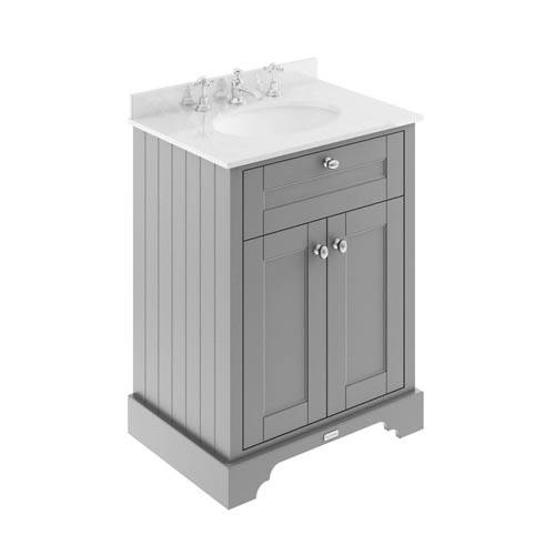 Additional image for Vanity Unit, Basin & White Marble 600mm (Grey, 3TH).
