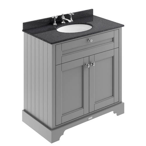 Additional image for Vanity Unit, Basin & Black Marble 800mm (Grey, 3TH).