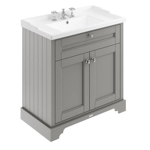 Additional image for Vanity Unit With Basins 800mm (Grey, 3TH).