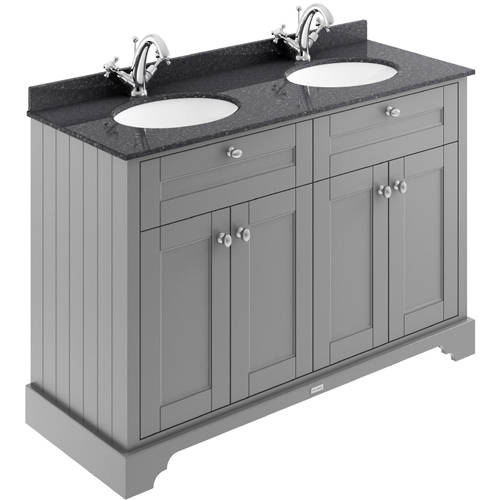 Additional image for Vanity Unit With 2 Basins & Black Marble (Grey, 1TH).