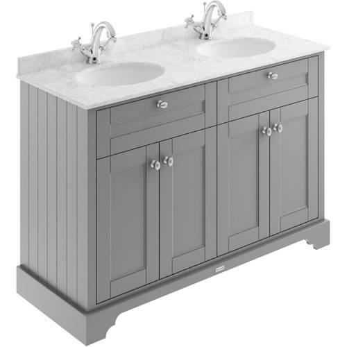 Additional image for Vanity Unit With 2 Basins & Grey Marble (Grey, 1TH).