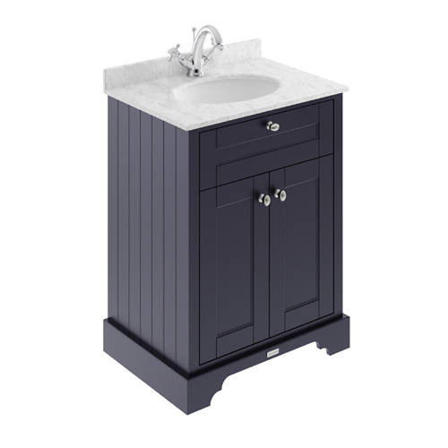 Additional image for Vanity Unit, Basin & Grey Marble 600mm (Blue, 1TH).