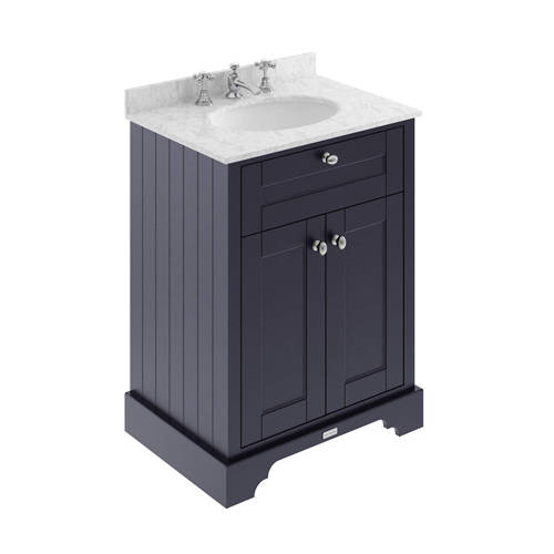 Additional image for Vanity Unit, Basin & Grey Marble 600mm (Blue, 3TH).