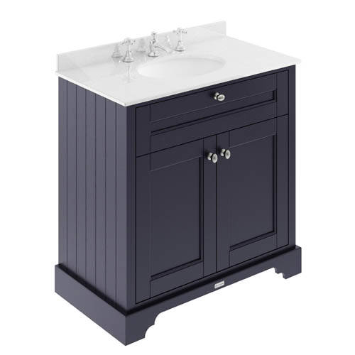 Additional image for Vanity Unit, Basin & White Marble 800mm (Blue, 3TH).