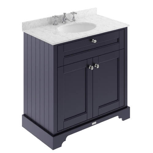 Additional image for Vanity Unit, Basin & Grey Marble 800mm (Blue, 3TH).