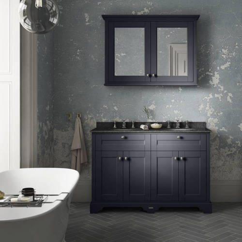 Additional image for Vanity Unit With 2 Basins & Black Marble (Blue, 3TH).