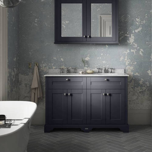 Additional image for Vanity Unit With 2 Basins & White Marble (Blue, 3TH).