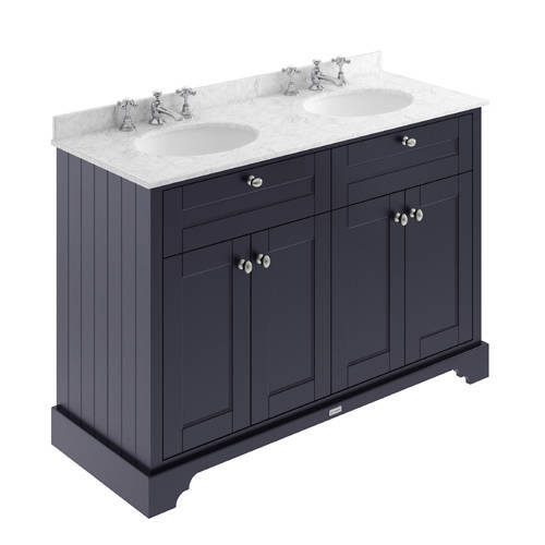 Additional image for Vanity Unit With 2 Basins & Grey Marble (Blue, 3TH).