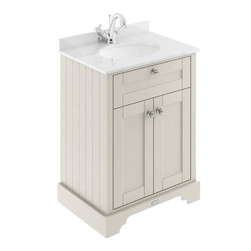 Additional image for Vanity Unit, Basin & White Marble 600mm (Sand, 1TH).