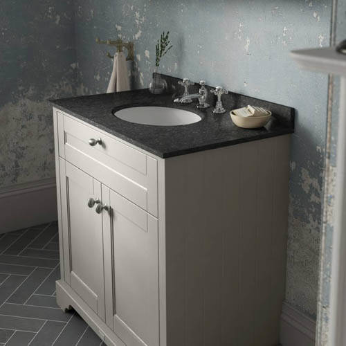 Additional image for Vanity Unit, Basin & Black Marble 800mm (Sand, 3TH).