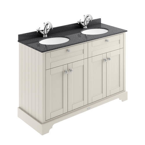 Additional image for Vanity Unit With 2 Basins & Black Marble (Sand, 1TH).