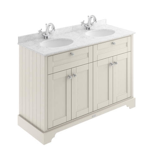 Additional image for Vanity Unit With 2 Basins & Grey Marble (Sand, 1TH).