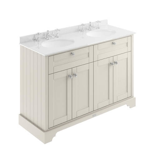 Additional image for Vanity Unit With 2 Basins & White Marble (Sand, 3TH).
