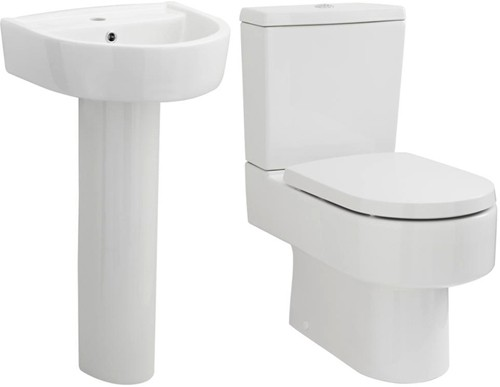 Additional image for Toilet With Luxury Seat, 420mm Basin & Pedestal.