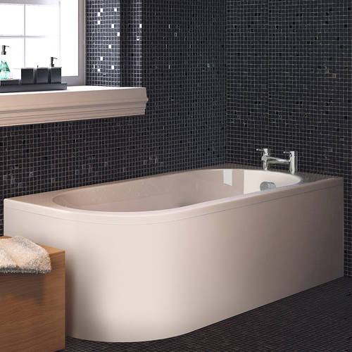 Additional image for Crescent Back To Wall Bath & Panel (Right Handed).