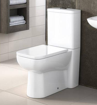 Additional image for Compact Semi Flush to Wall Toilet Pan, Cistern & Seat.