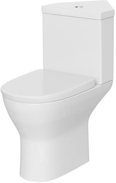 Additional image for Corner Close Coupled Toilet Pan, Cistern & Soft Close Seat.