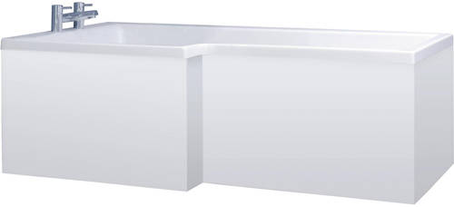 Additional image for Square Side Shower Bath Panel (White, 1700mm).