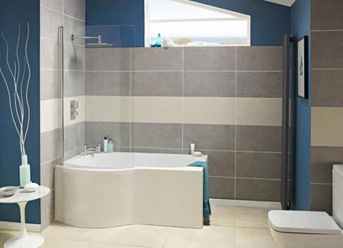 Additional image for P-Shape 1700mm Shower Bath Only (Left Handed).