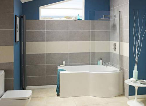 Additional image for P-Shape 1700mm Shower Bath Only (Right Handed).