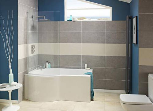 Additional image for P-Shape 1600mm Shower Bath Only (Left Handed).
