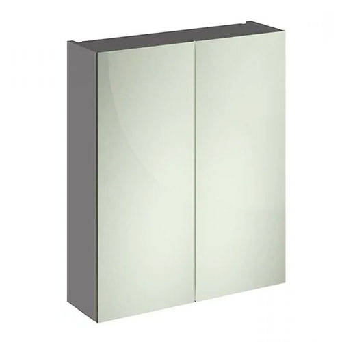 Additional image for 2 Door Mirror Cabinet 600mm (Gloss Grey).