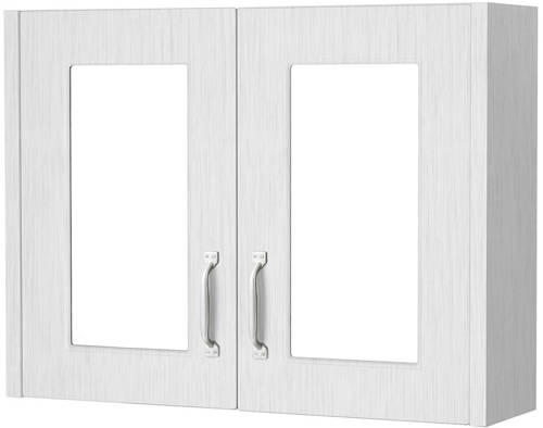 Additional image for 2 Door Mirror Bathroom Cabinet 800mm (White).
