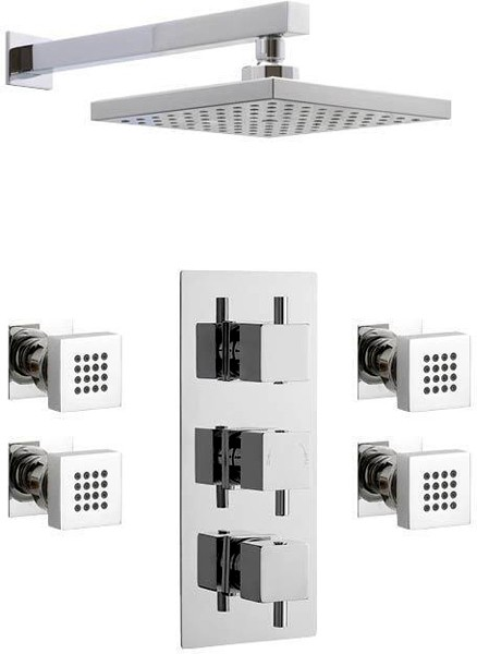Additional image for Triple Thermostatic Shower Valve & Square Head & Body Jets.