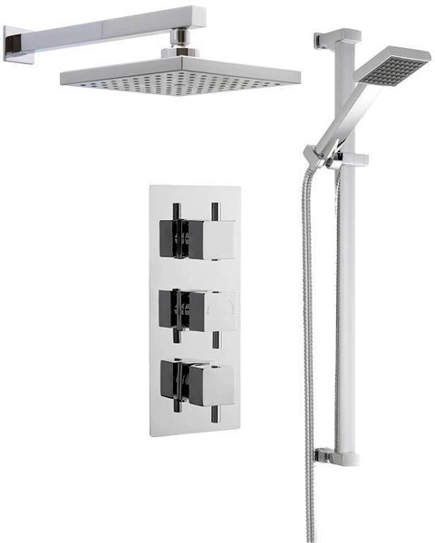 Additional image for Triple Thermostatic Shower Valve, Square Head & Slide Rail Kit.
