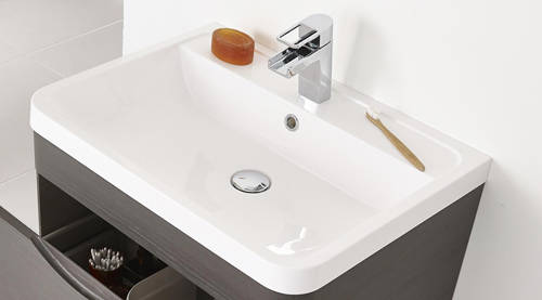 Additional image for Wall Hung Vanity Unit & Basin 600mm (Grey Woodgrain).