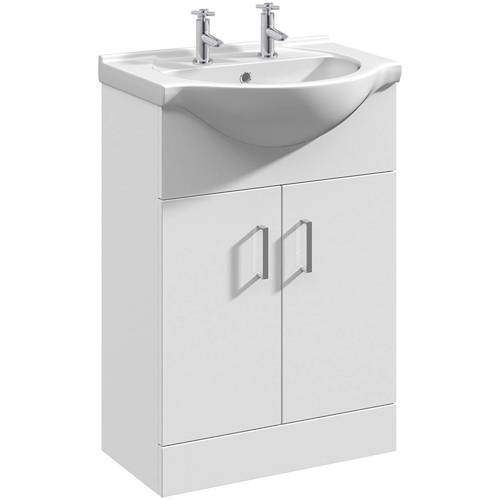 Additional image for Floor Standing Vanity Unit 550mm (2TH, White).