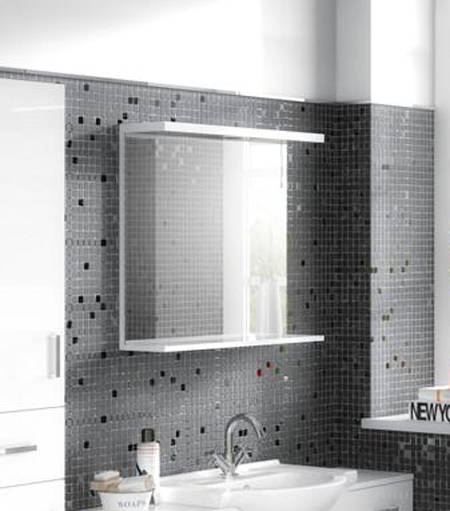 Additional image for Vanity Mirror With Shelf & Light (550x750mm, White).