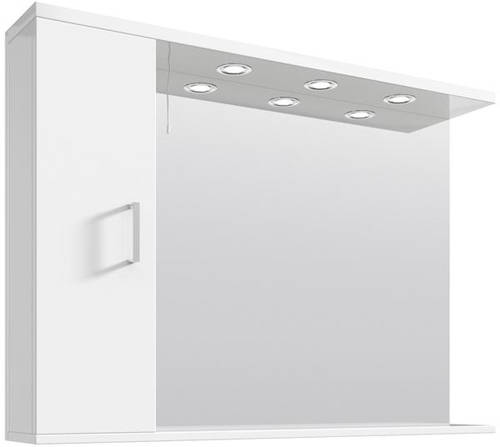 Additional image for Vanity Mirror With Cabinet & Lights (1050x750mm, White).