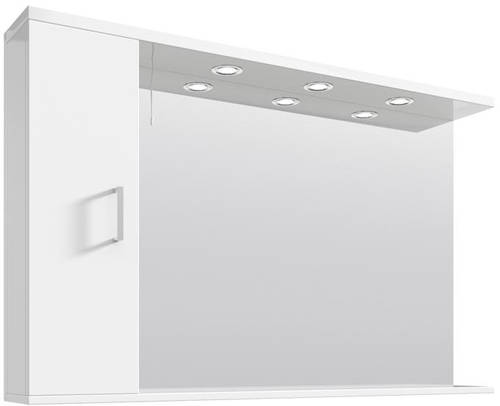 Additional image for Vanity Mirror With Cabinet & Lights (1200x750mm, White).