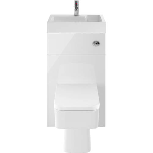Additional image for 2 In 1 BTW Unit With Basin & Cistern 500mm (Gloss White).