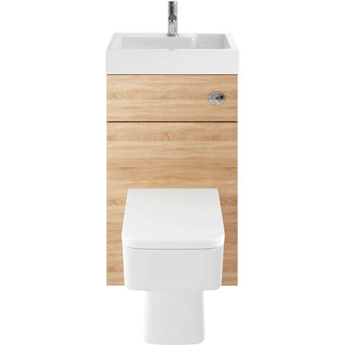 Additional image for 2 In 1 BTW Unit With Basin & Cistern 500mm (Natural Oak).
