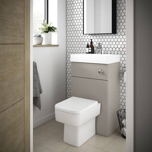 Additional image for 2 In 1 BTW Unit With Basin & Cistern 500mm (Stone Grey).