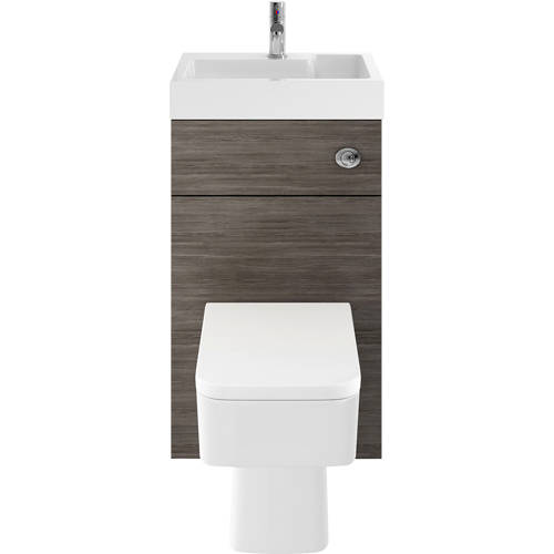 Additional image for 2 In 1 BTW Unit With Basin & Cistern 500mm (Brown Grey Avola).