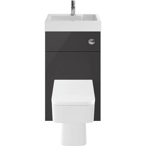 Additional image for 2 In 1 BTW Unit With Basin & Cistern 500mm (Gloss Grey).