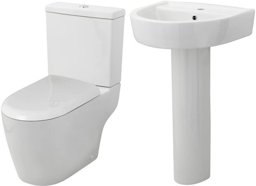 Additional image for Toilet With Luxury Seat, 520mm Basin & Pedestal.