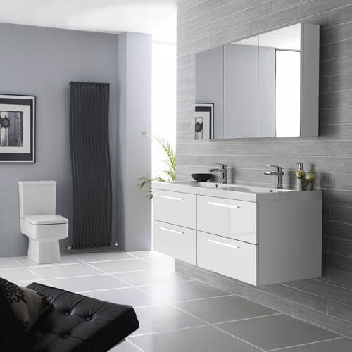 Additional image for Wall Vanity Unit & Double Basin 1440mm (G White).