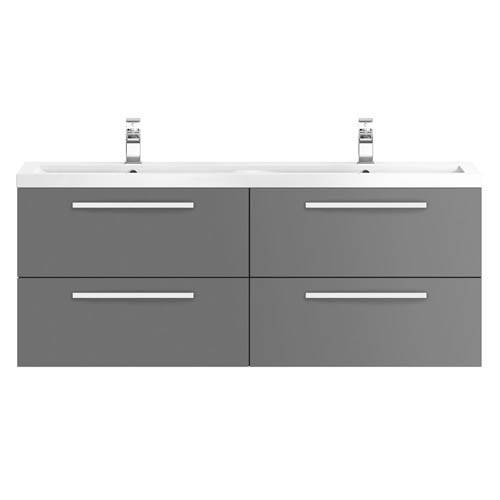 Additional image for Wall Vanity Unit & Double Basin 1440mm (G Grey).