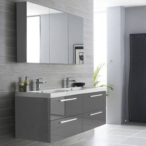 Additional image for Wall Hung Vanity Unit Pack With Cabinet (Gloss Grey).