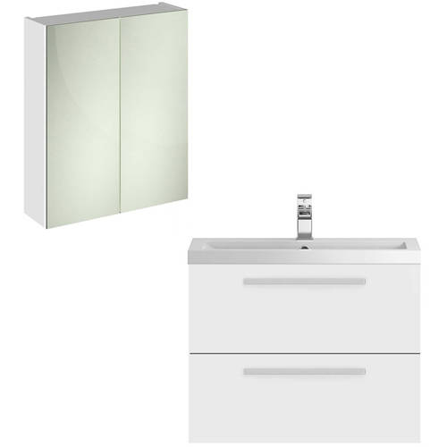 Additional image for Wall Hung Vanity Unit Pack With Cabinet (Gloss White).