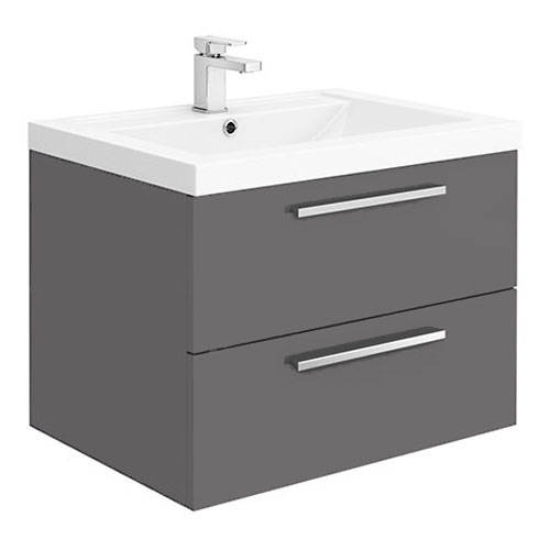 Additional image for Wall Vanity Unit & Basin 720mm (Gloss Grey).