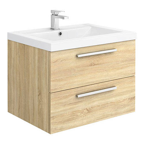 Additional image for Wall Vanity Unit & Basin 720mm (Natural Oak).