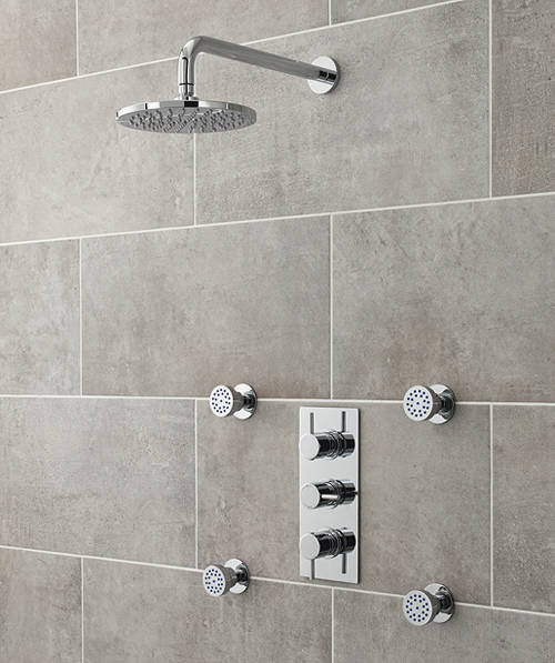 Additional image for Quest Triple Thermostatic Shower Valve, Head & Body Jets.