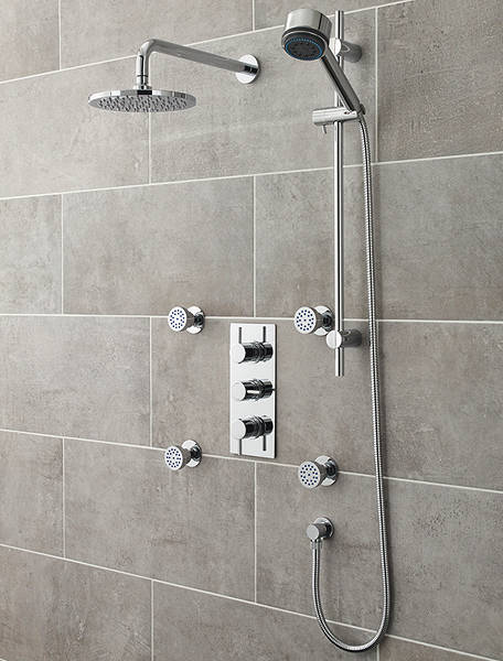 Additional image for Quest Thermostatic Shower Valve With Head, Slide Rail & Jets.