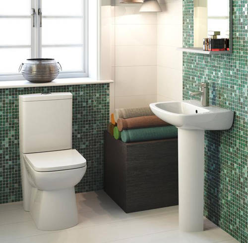 Additional image for Compact Flush To Wall Toilet With 500mm Basin & Pedestal.